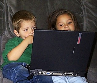 Mitzi and Max on laptop 2003
