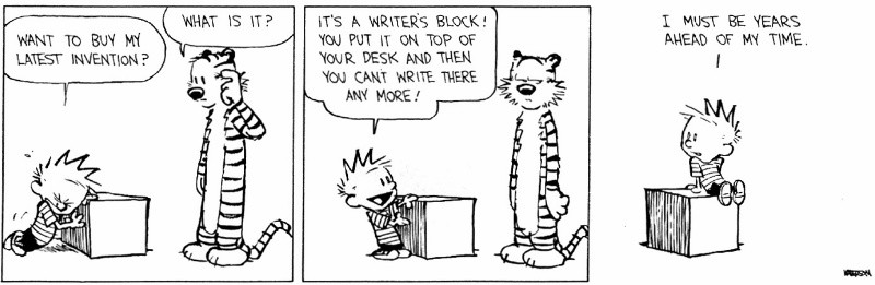 Image result for writer's block calvin and hobbes